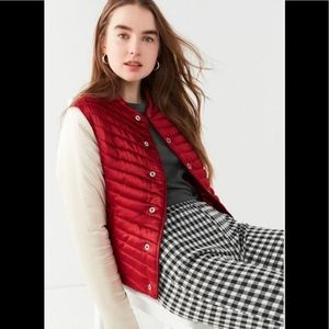 UO Maroon quilted silky bomber jacket M